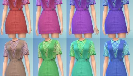 Мод одежды Pinafore with TShirt - Пинафоре с футболкой для Sims 4